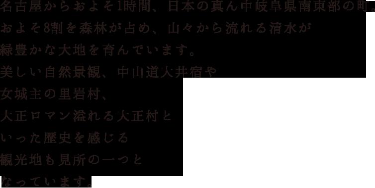 名古屋からおよそ1時間、日本の真ん中岐阜県南東部の町。およそ8割を森林が占め、山々から流れる清水が緑豊かな大地を育んでいます。美しい自然景観、中山道大井宿や女城主の里岩村、大正ロマン溢れる大正村といった歴史を感じる観光地も見所の一つとなっています。